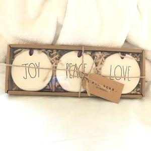 """Rae Dunn Ornament """"Joy, Peace, Love"""""""